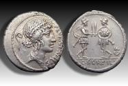 Ancient Coins - AR Denarius C. Servilius C.f., Rome 57 B.C. - Soldiers presenting their swords, exceptionally well struck -