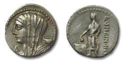 Ancient Coins - AR denarius L. Cassius Longinus, Rome 63 B.C. -- control letter A --