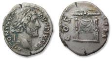 Ancient Coins - AR denarius, Antoninus Pius, Rome 145-161 A.D. - winged thunderbolt on throne -