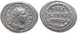 Ancient Coins - AR antoninianus, Philip I 'the Arab' - near mint state coin - Rome mint 249 A.D. - FELICITAS IMPP -