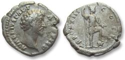 Ancient Coins - AR denarius Marcus Aurelius as Caesar, Rome 158-159 A.D. -- Virtus standing right --