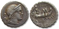 Ancient Coins - AR Denarius, C. Naevius Balbus, Rome 79 B.C. - one of the few Republican coins with a TRIGA on the reverse -