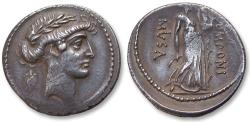 Ancient Coins - AR denarius Q. Pomponius Musa, Rome 66 B.C. - Terpischore, the Muse of Dancing -