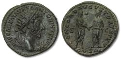 Ancient Coins - AE dupondius Marcus Aurelius - exceptionally sharp example of this type - , Rome 161 A.D. - Marcus Aurelius & Lucius Verus on reverse -