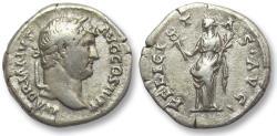 Ancient Coins - AR denarius Hadrian / Hadrianus, Rome 134-138 A.D. -- Felicitas standing left --