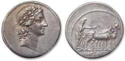 Ancient Coins - AR denarius Octavian / Octavianus, Italian mint (Rome ?) 30-27 B.C.