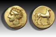 Ancient Coins - EL stater Zeugitana, Carthage 350-300 B.C. -- three pellets below horse --
