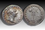 AR denarius Trajan / Trajanus, Rome 107-108 A.D. - trophy of Dacian arms, beauty -