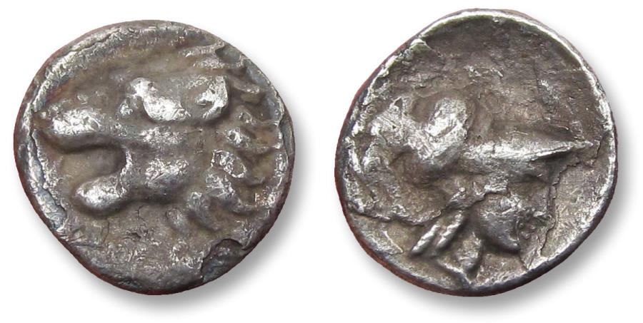 Ancient Coins - Pamphylia, Side. AR hemiobol, circa 400-300 B.C. - variety with lion left -