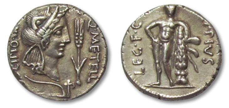 Ancient Coins - AR denarius Q. Caecilius Metellus Pius Scipio, North Africa 47-46 B.C.