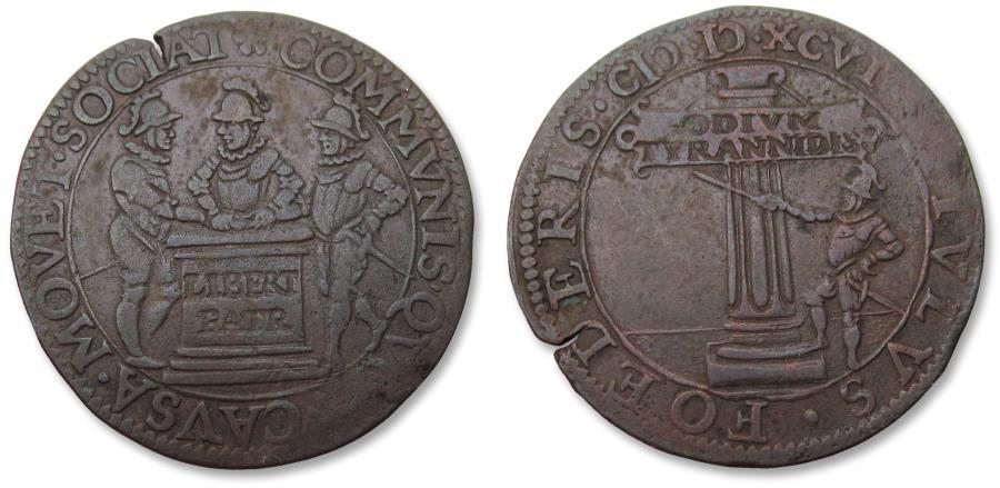World Coins - Spanish Netherlands AE jeton Dordrecht mint 1596: on the vigilance with truce & the triple alliance