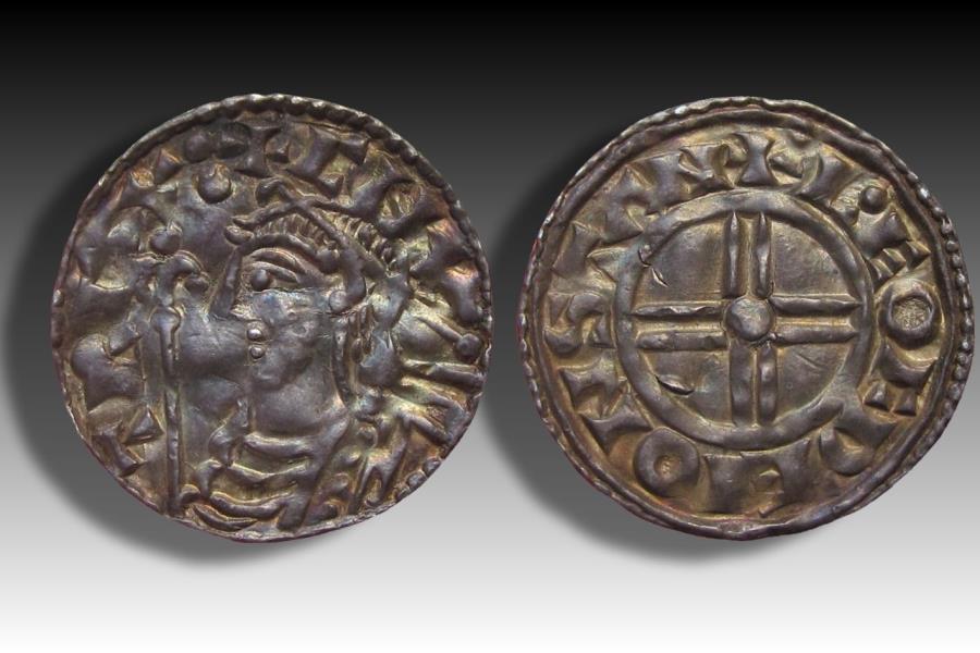 World Coins - Short cross type AR penny Cnut the Great - STAMFORD mint 1029-1035 A.D. - moneyer L•EOFDÆI