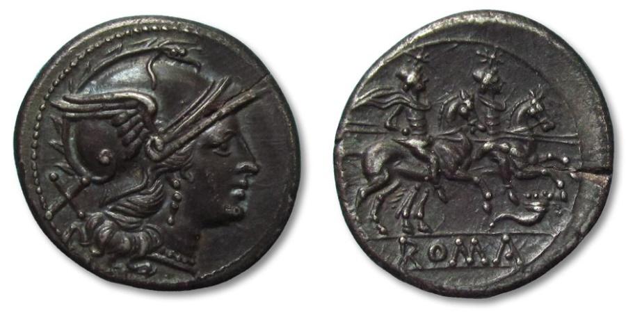 Ancient Coins - AR denarius, anonymous issue, Rome 207 B.C. -- Cornucopiae symbol, excellent strike --