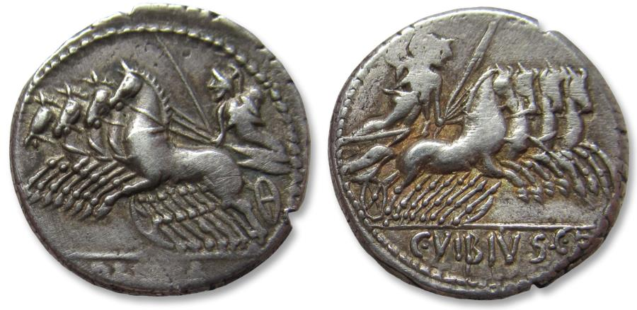 Ancient Coins - AR denarius, C. Vibius C.f. Pansa. Rome 90 B.C. - scarcer type with quadriga on both sides -