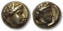 EL Hekte Lesbos, Mytilene 377-326 B.C.--Dyonisos & Persephone --