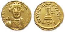 Ancient Coins - AV/AU gold solidus Constans II, Constantinople 641-668 A.D.
