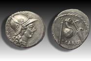 Ancient Coins - AR Denarius, T. Carisius, Rome 46 B.C. - Ex Ibergold 1986 -