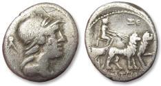 Ancient Coins - AR denarius M. Volteius M.f., Rome 78 B.C. - lion biga, control letters ΣE on reverse -