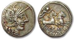 Ancient Coins - AR denarius C. Porcius Cato, Rome 123 B.C. -- beautiful toning --