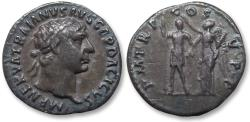 Ancient Coins - AR denarius Trajan / Trajanus, Rome early 103 A.D. - rare reverse and obverse type of this scarce issue of 103 AD -