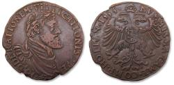 World Coins - Spanish Netherlands AE jeton Dordrecht mint 1555: for the chamber of commerce of Holland - great portrait of Charles V