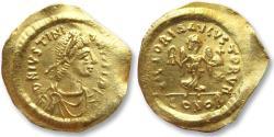 Ancient Coins - AV gold tremissis Justinian I / Justinianus I, Constantinople, 527-565 A.D.