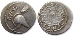 Ancient Coins - AR denarius, Mn. Cordius Rufus, Rome 46 B.C. - Corinthian helmet & owl, quite beautiful for this type -