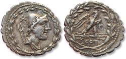 Ancient Coins - AR Denarius, L. Aurelius Cotta, Rome 105 B.C. - control letter O on reverse -