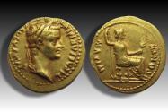 AV gold aureus Tiberius, Lugdunum 14-37 A.D. -- expressive portrait of the emperor --