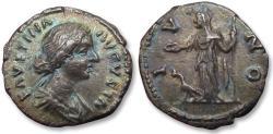 Ancient Coins - AR Denarius, Faustina II Junior (struck under her husband Marcus Aurelius), Rome 161-164 A.D. - IVNO, Juno standing left, beautifully toned -