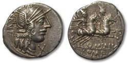 Ancient Coins - AR denarius Q. Minucius Rufus, Rome 122 B.C. -- great strike & attractive toning --