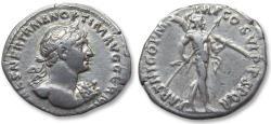 Ancient Coins - AR denarius Trajan / Trajanus, Rome 116-117 A.D. - scarce bare bust variety with aegis, PARTHICO P M TR P COS VI