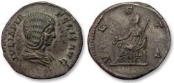AR denarius, Julia Domna (struck under Caracalla) - near mint state, black find patina -, Rome mint 211-217 A.D. - VESTA, Vesta seated left -
