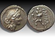 Ancient Coins - AR denarius C. Julius Caesar. Military mint with Caesar in North Africa 47-46 B.C. - superb coin -
