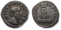 Ancient Coins - AR denarius DIVUS Antoninus Pius, struck under Marcus Aurelius - Rome mint after 161 A.D. - Funeral pyre, near mint state coin -
