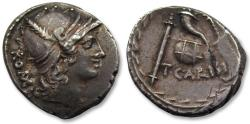 Ancient Coins - AR denarius T. Carisius, Rome 46 B.C. - beautiful for the type, heavy coin -