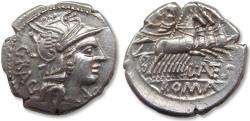 Ancient Coins - AR Denarius, L. Antestius Gragulus, Rome 136 B.C.