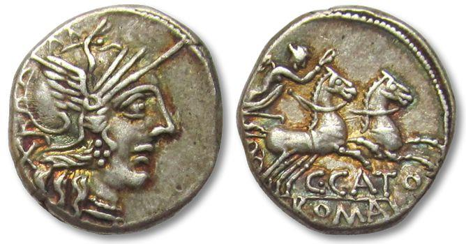 Ancient Coins - AR denarius C. Porcius Cato, Rome 123 B.C. -- beautiful toning --
