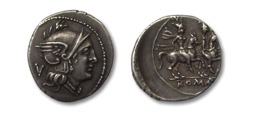 Ancient Coins - HS: AR quinarius, anonymous issue, 211-210 B.C.