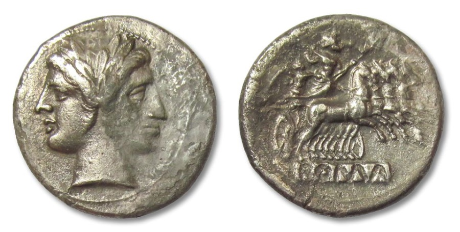 Ancient Coins - HS: AR didrachm / quadrigatus Anonymous issue, pre-denarius time, Rome 225-214 B.C.