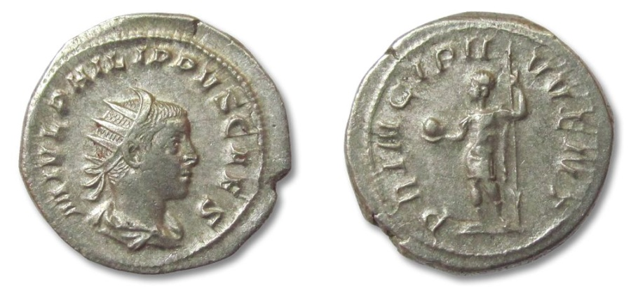 Ancient Coins - HS: AR antoninianus Philippus II as Caesar, Rome 246 A.D. --struck under Philip I--