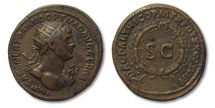 Ancient Coins - AE dupondius Trajan, Rome (for circulation in the East) 114-117 A.D. -- magnificent condition --