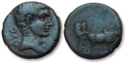 Ancient Coins - AE 17 Macedon, issue of Philippi, time of Augustus 27-14 B.C. -- priests plowing --