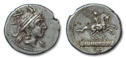Ancient Coins - AR denarius L. Marcius Philippus, Rome 113-112 B.C. -- beauty --