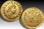 Gold solidus Gratianus, Treveri (Trier) mint circa 373-374 A.D. - Superb sharp strike, great centering on both sides