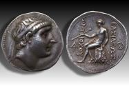 Ancient Coins - Seleucid Kingdom. AR Tetradrachm, Antiochus I Soter - high relief, 5mm thick - Seleukeia on the Tigris, 281-261 B.C. - oustanding coin -