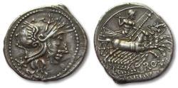 Ancient Coins - AR denarius L. Minucius, Rome 133 B.C. -- interesting misstrike / doublestrike --