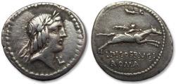 Ancient Coins - AR denarius L. Calpurnius Piso L.f. Frugi, Rome 90 B.C.