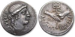 Ancient Coins - AR denarius D. Iunius Albinus Bruti f., Rome 48 B.C.