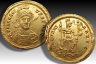 Ancient Coins - AV gold solidus Arcadius, Constantinople mint AD 397-402 - sharply struck from fresh dies -